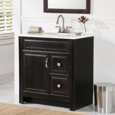 Candlesby 31 in. W x 19 in. D Bathroom Vanity in Charcoal with Cultured Marble Vanity Vanity Top in White