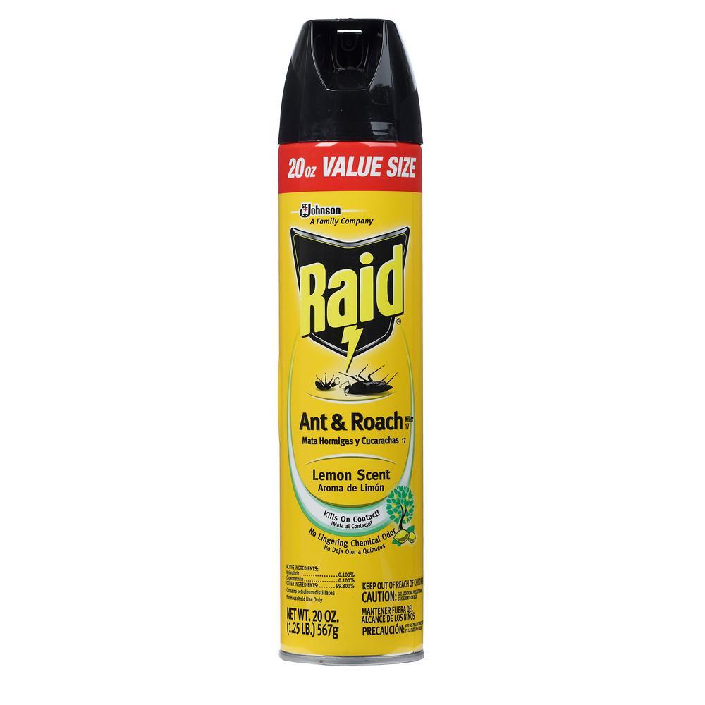Raid 20 Oz Value Size Lemon Scent Ant And Roach Killer Scj645281 The Home Depot