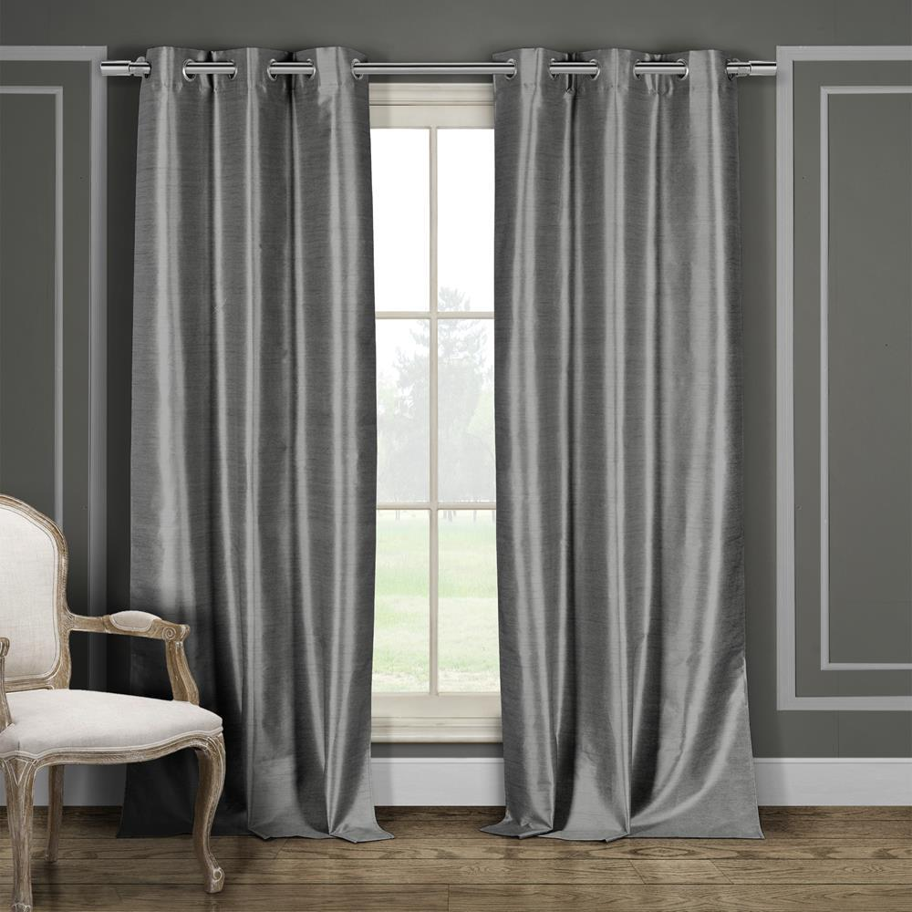 Bali 38 In X 96 L Polyester Faux Silk Curtain Panel Silver 2 Pack