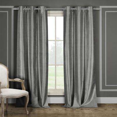 Bali 38 in. x 96 in. L Polyester Faux Silk Curtain Panel in Silver (2-Pack)