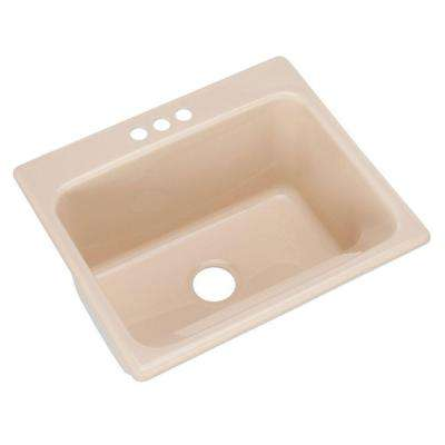 Kensington Drop-In Acrylic 25 in. 3-Hole Single Bowl Utility Sink in Peach Bisque