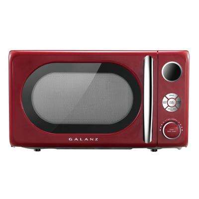 0.7 cu. Ft. 700-Watt Countertop Microwave in Red, Retro