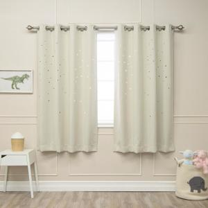 52 in. W x 63 in. L Star Cut Out Blackout Curtains in Ivory (2-Pack)