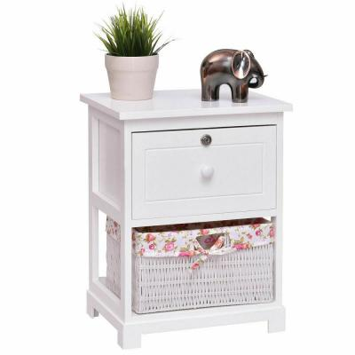 1-Drawer White Nightstand 2-Tiers Wood 1-Basket BedSide End Table Organizer White