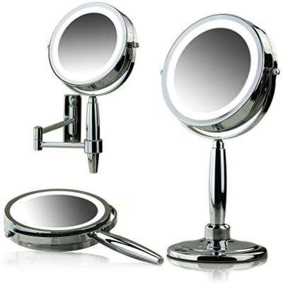 LED Lighted 3-in-1 Makeup Mirror (Tabletop, Wall Mount, Handheld) 1x 8x Magnifications