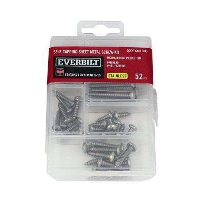 Stainless Steel Self-Tapping Sheet Metal Screw Kit (52-Piece)