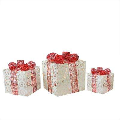 11.25 in. Christmas Yard Art Decorations Lighted Sparkling White Swirl Glitter Gift Boxes (3-Pack)