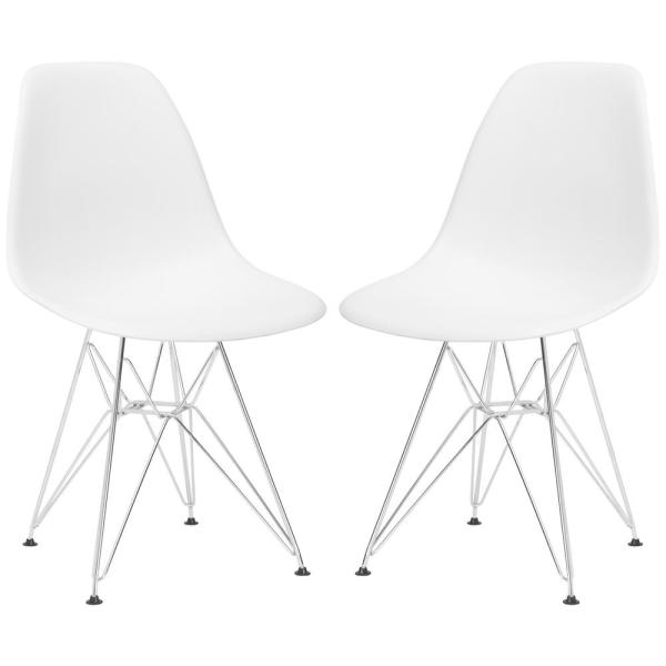 Poly and Bark Padget White Side Chair (Set of 2) D104-CRM-WHI-X2