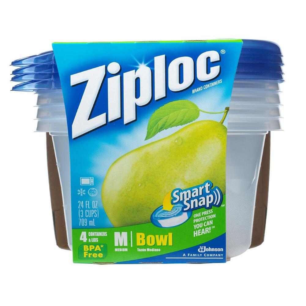 Ziploc 24 oz. Medium Plastic Storage Bowl with Smart Snap Lid (6-Pack)
