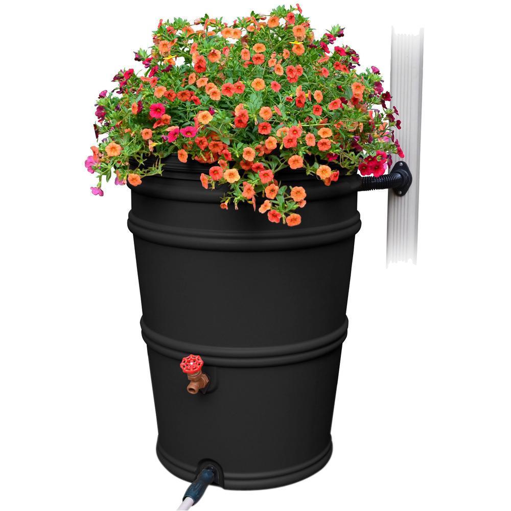 RainStation 45 Gal. Recycled Black Rain Barrel with Diverter
