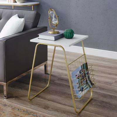 White Faux Marble/Gold Modern End Table with Magazine Holder