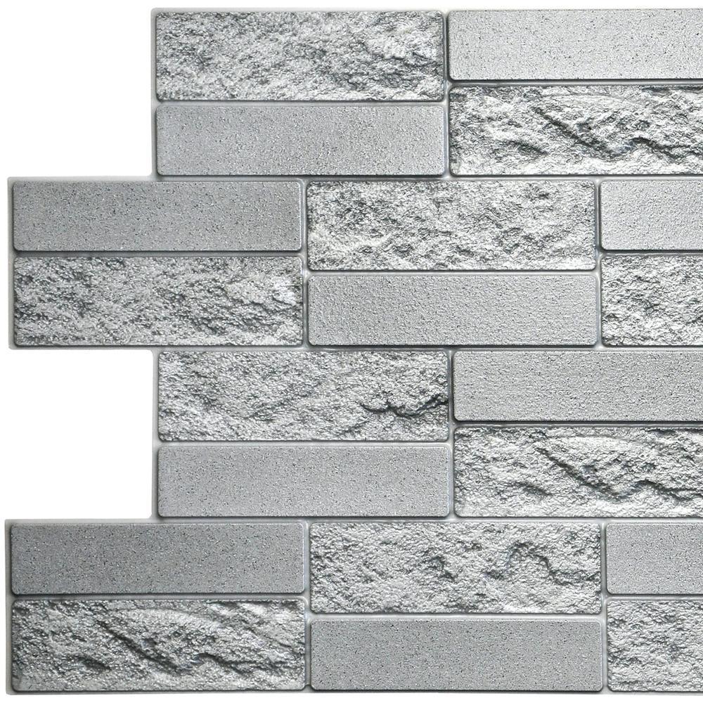 3D Falkirk Retro 10/1000 in. x 39 in. x 19 in. Grey Faux Cement Brick PVC Wall Panel