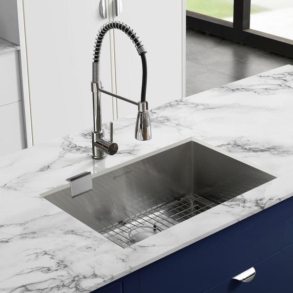 Swiss Madison 26 In X 18 In Stainless Steel Undermount Kitchen Sink Grid Sm Ku708 G The Home Depot