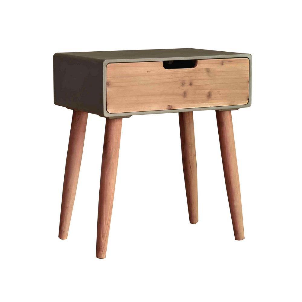 Grey Wood End Table with Drawer