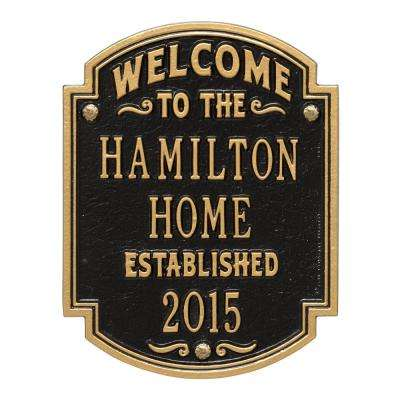 Heritage Welcome Square Standard Wall 3-Line Anniversary Personalized Plaque in Black/Gold