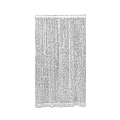Starfish White Polyester Light Filtering Lace Curtain Panel - 45 in. W x 63 in. L
