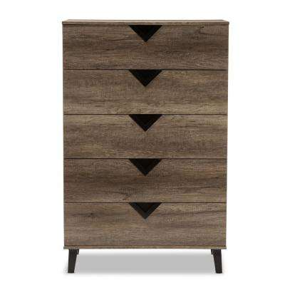 Wales 5-Drawer Light Brown Chest