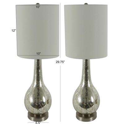 Pennington 29 in. Clear Mercury Glass Table Lamp with Shade (Set of 2)