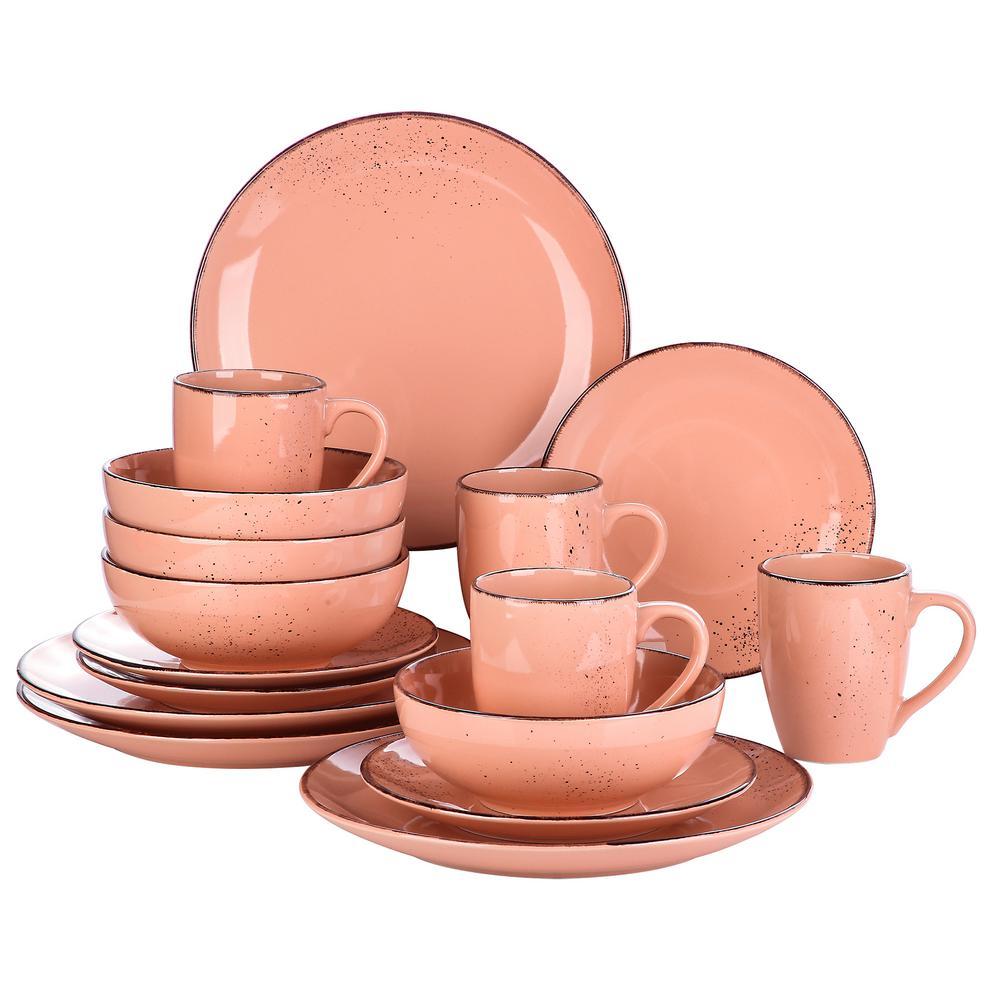 Navia Jardin 16-Pieces Dinner Set Vintage Look Porcelain Pink with Dinner Dessert Plate Cereal Bowl Mug (Service for 4)