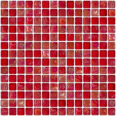 12 in. x 12 in. x 8 mm Tile Esque Red Iridescent Glass Mesh-Mounted Mosaic Tile