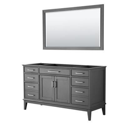 Margate 59 in. W x 21.5 in. D Bath Vanity Cabinet Only with 56 in. Mirror in Dark Gray