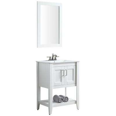 Mosset 24 in. W x 34 in. H Bath Vanity in Rich White with Ceramic Vanity Top in White with White Basin and Mirror