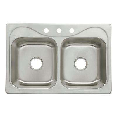 Southhaven Drop-In Stainless Steel 33 in. 3-Hole Double Bowl Kitchen Sink