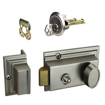 1-3/8 in. x 2-3/8 in. Single Cylinder Satin Nickel Deadlatch Lock