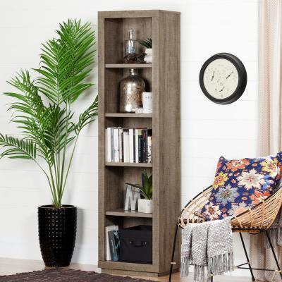70.88 in. Weathered Oak Faux Wood 5-shelf Standard Bookcase with Adjustable Shelves
