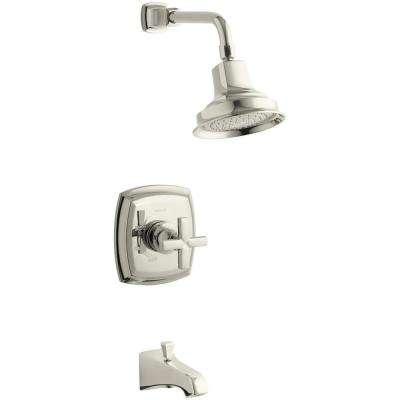 Margaux Single-Handle 1-Spray 2.5 GPM Tub and Shower Faucet with Cross Handle in Polished Nickel