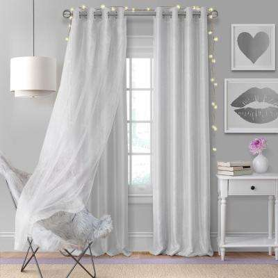 Elrene Aurora Single Window Curtain Panel with Sheer Overlay in Pearl Gray - 52 in. W x 95 in. L