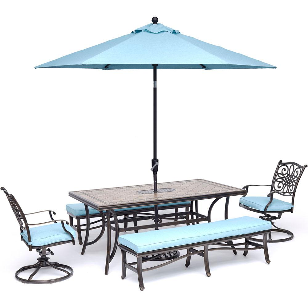 Aluminum Outdoor Dining Set Swivel Rockers Benches Blue Cushions Umbrella 612 Product Photo