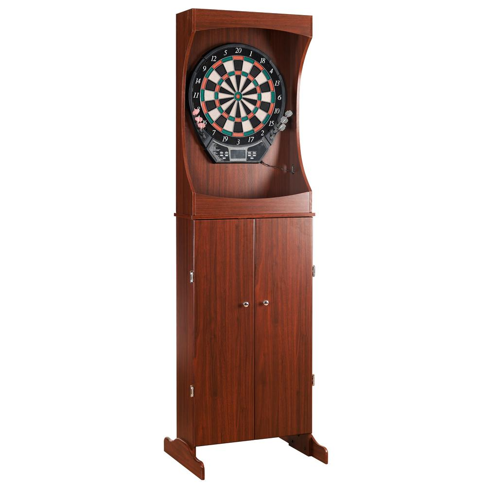 Outlaw Free Standing Dart Board and Cabinet Set - Cherry