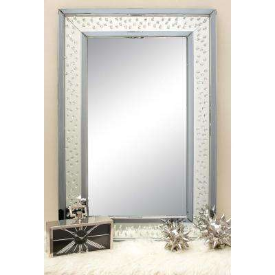 47 in. x 32 in. Rectangular Jewelled Glass Wall Mirror