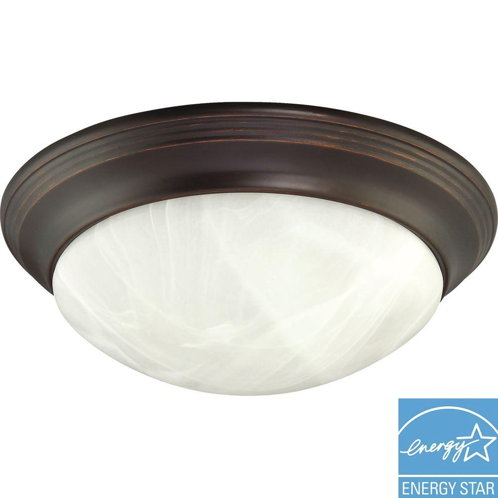 Green Matters 2-Light Flush-Mount Mahogany Bronze Light Fixture -DISCONTINUED