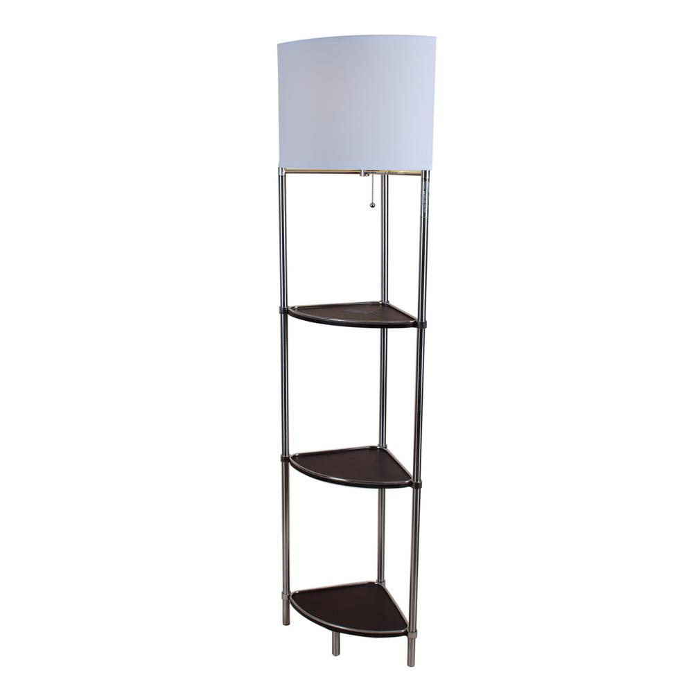 shelf artiva home brushed today inch overstock modern free with glass shipping floor lamp product steel exeter usa w garden shelved