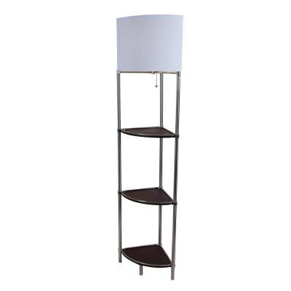 58.5 in. Shelf Floor Lamp. Dark Espresso with White Fabric Shade