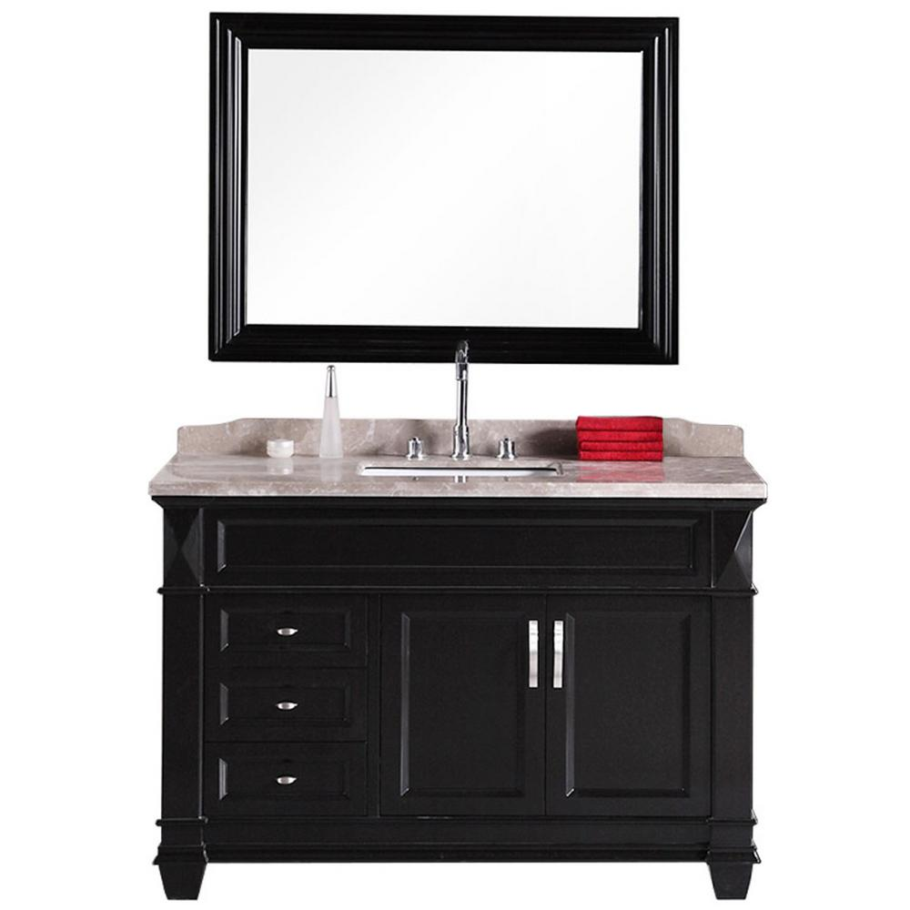 Design Element Hudson-San Marino 48 in. W x 22 in. D Vanity in Espresso with Marble Vanity Top and Mirror in Badel Gray
