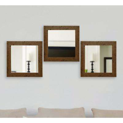 21.5 in. x 21.5 in. Rustic Light Walnut Vanity Square Vanity Wall Mirrors (Set of 3)