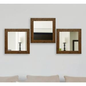 21.5 inch x 21.5 inch Rustic Light Walnut Vanity Square Vanity Wall Mirrors (Set of 3) by