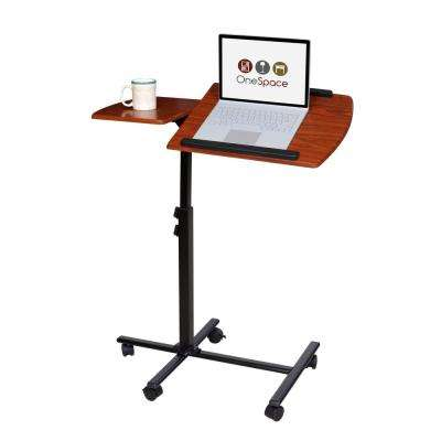 Cherry Angle and Height Adjustable Mobile Laptop Computer Desk with Dual Surface