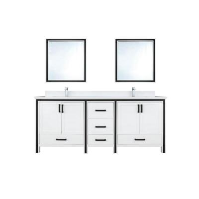 Ziva 72 in. W Double Vanity in White with Marble Vanity Top in White Cultured with White Basin, 30 in. Mirrors