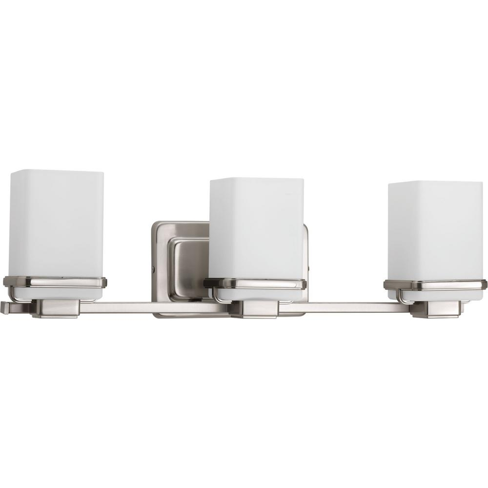 Progress Lighting Metric Collection 3 Light Brushed Nickel Bathroom Vanity With Gl Shades