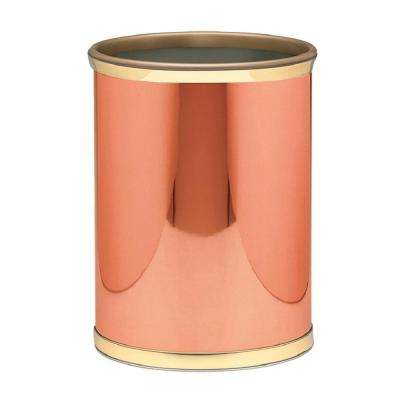 Mylar 13 qt. Polished Copper and Brass Round Waste Basket