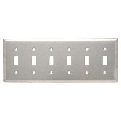 302 Series 6-Gang Toggle Wall Plate, Stainless Steel