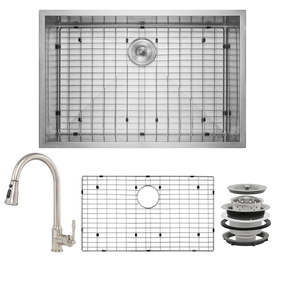 AKDY Handmade All-in-One Undermount Stainless Steel 33 in. x 22 in. Pull-down Faucet and Bottom Grid Single Bowl Kitchen Sink, Brushed Stainless Steel was $494.0 now $319.99 (35.0% off)