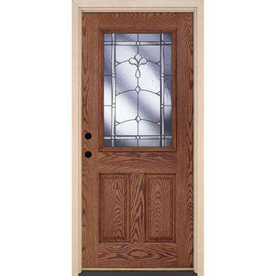 37.5 in. x 81.625 in. Carmel Patina 1/2 Lite Stained Medium Oak Right-Hand Inswing Fiberglass Prehung Front Door