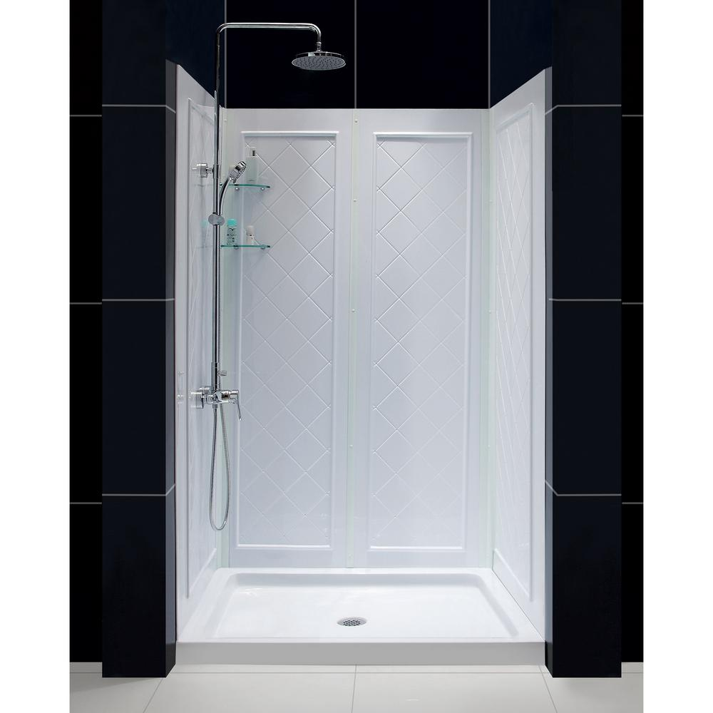 Single threshold shower base in white with shower