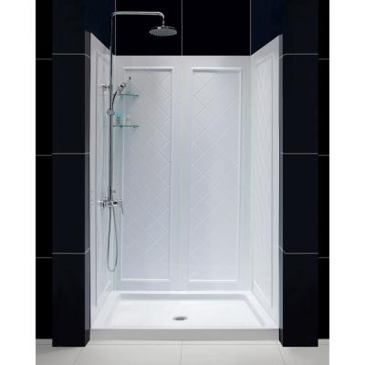 SlimLine 48 in. x 32 in. Single Threshold Shower Base in White with Shower Backwalls