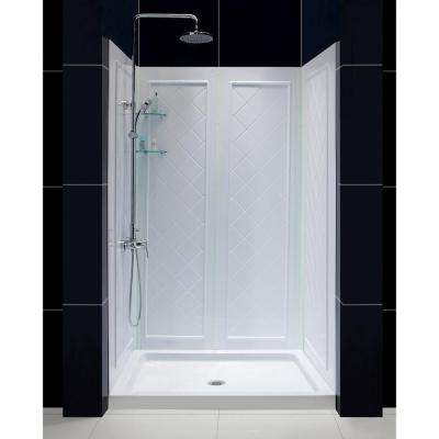 Slimline 48 in. x 34 in. Single Threshold Shower Base in White with Shower Backwalls
